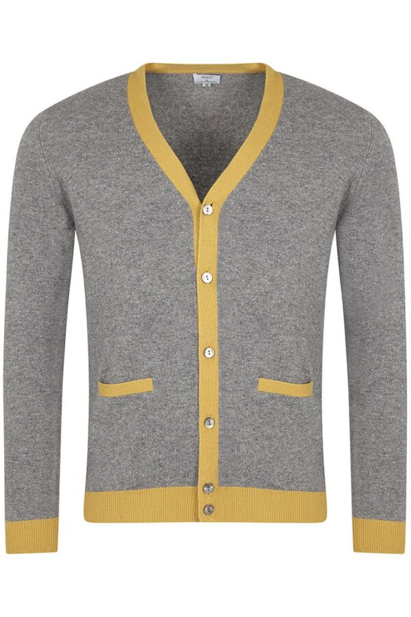 Poplar Light Grey & Yellow Cardigan