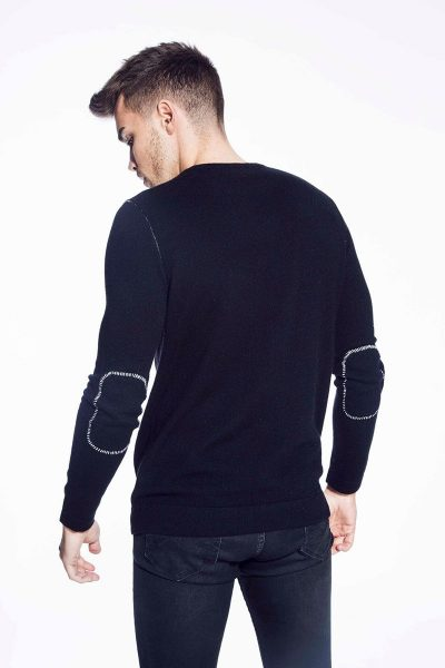 Thirsk Hand Stitched Crew Neck in Ebony