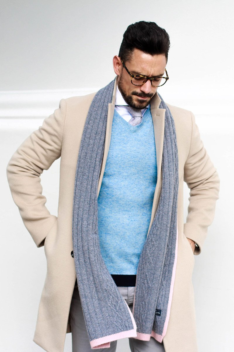 Chepstow Scarf In Pale Grey and Pink