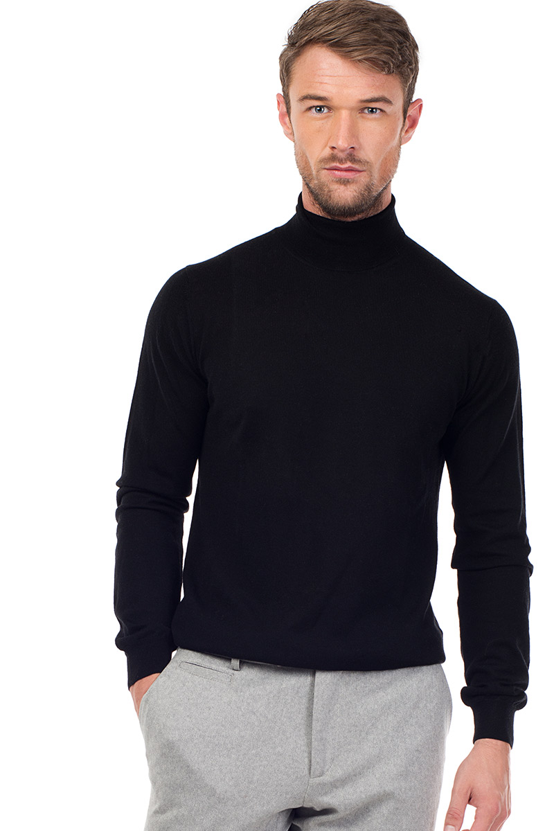 3c1e1cc66b0 CAINE - Silk and Cashmere Blend Rollneck Sweater - Black