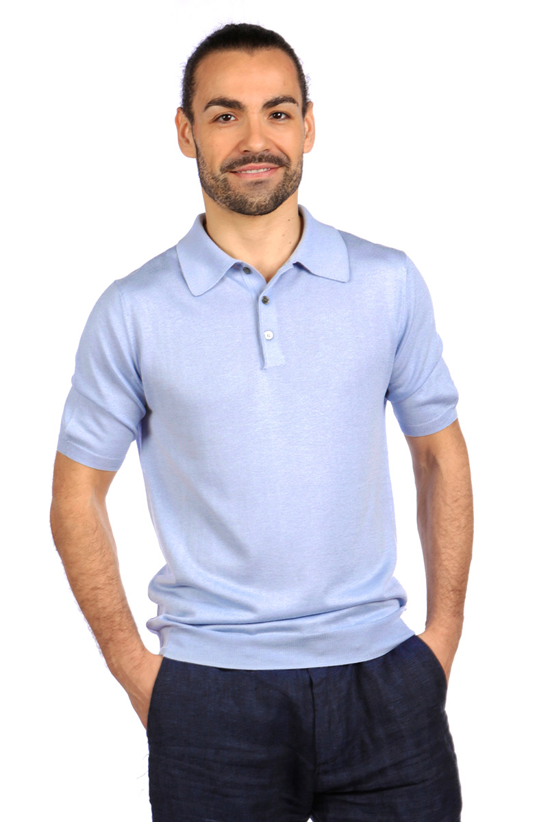 b148d8702da3 Shoal Silk Blend Polo Shirt - Summer Blue -