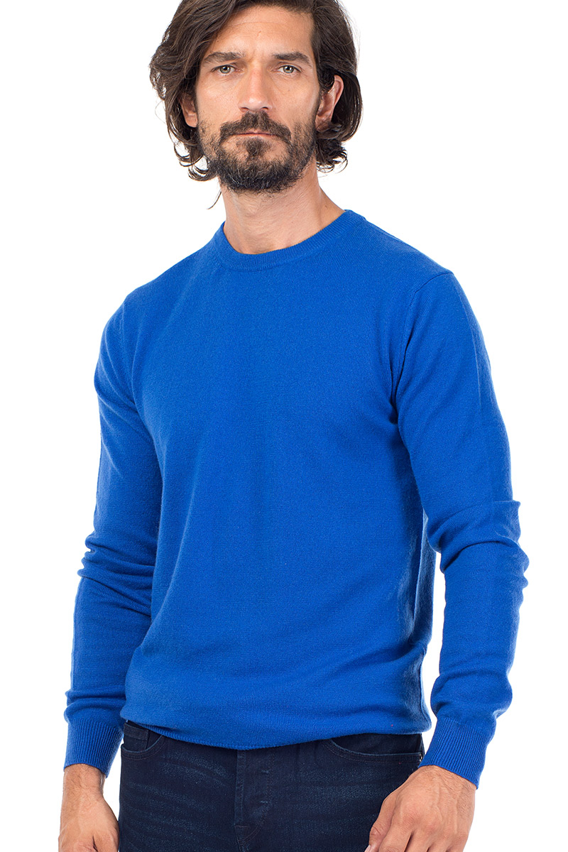 a792abb6c2cb03 Canyon | Men's Cashmere Crew Neck Sweater in Azure Blue ...