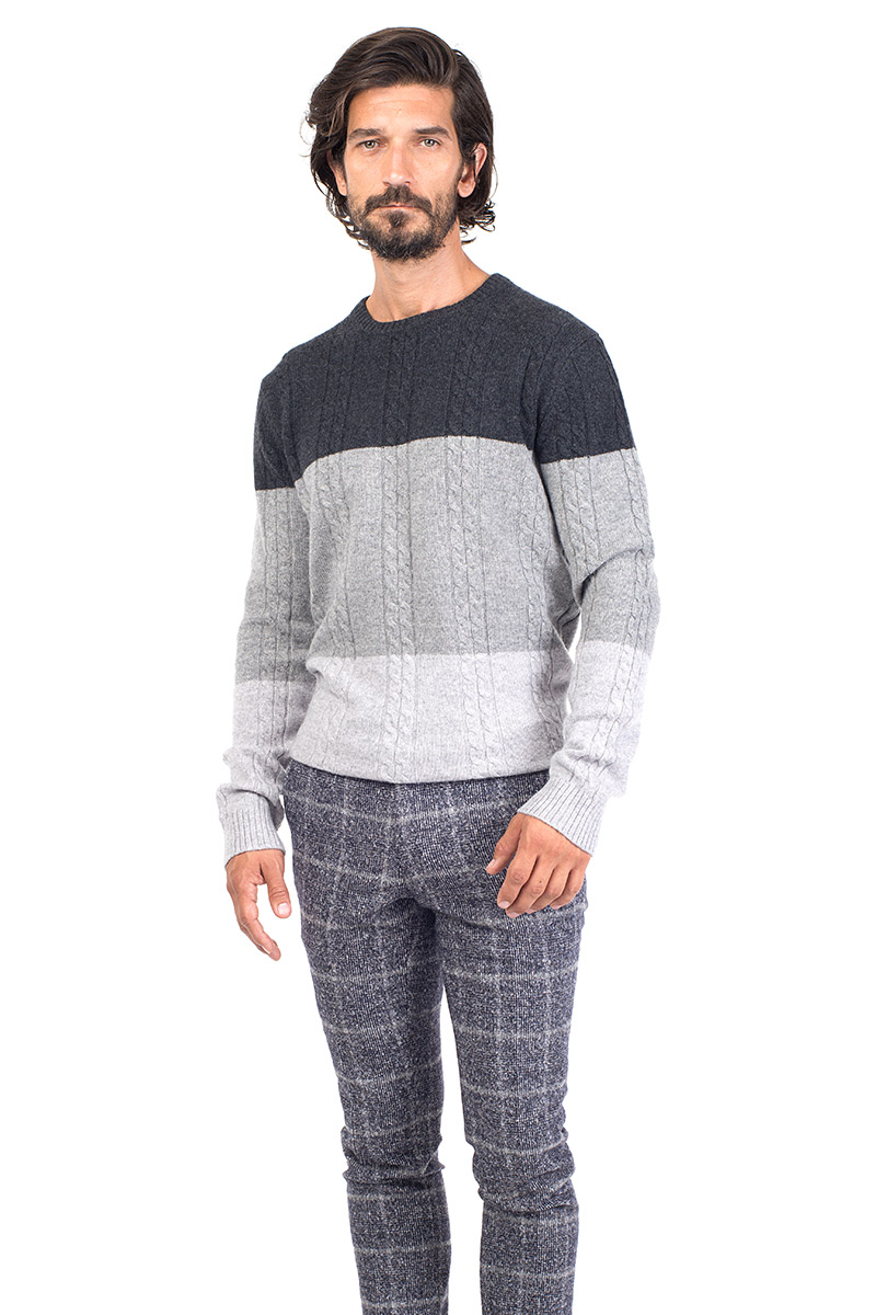 Vail Mens Cashmere Crew Neck Sweater In Grey Mr Quintessential