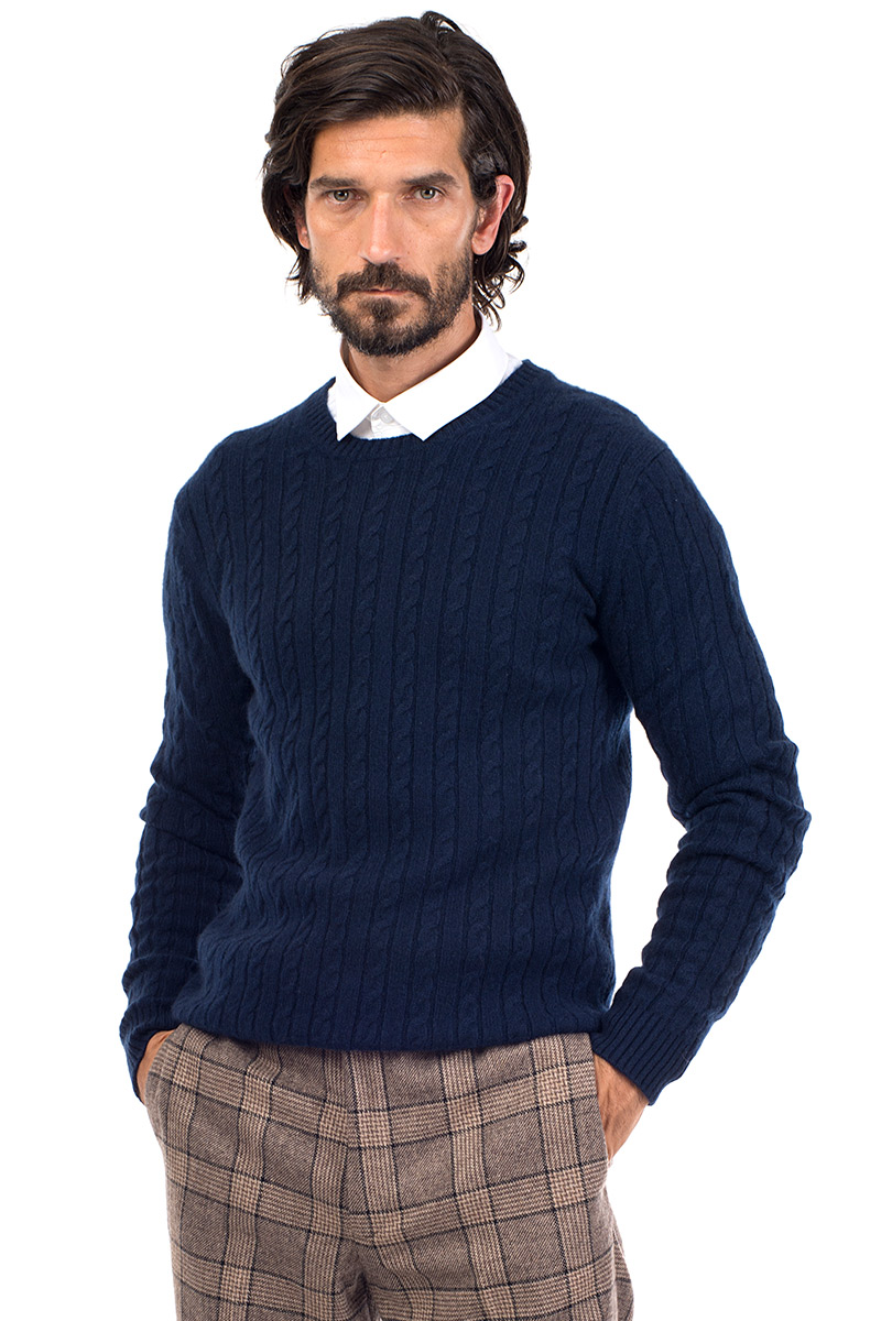 7c1b792ff7c Afton Cable Knit Cashmere Crew Neck Sweater - Indigo Blue