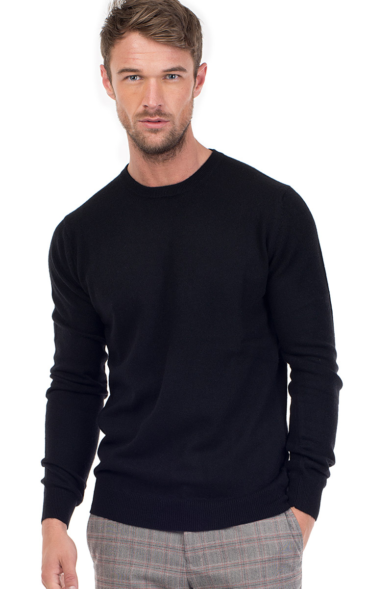 922ce4d51c9ba3 Canyon | Men's Cashmere Crew Neck Sweater in Black | MrQuintessential