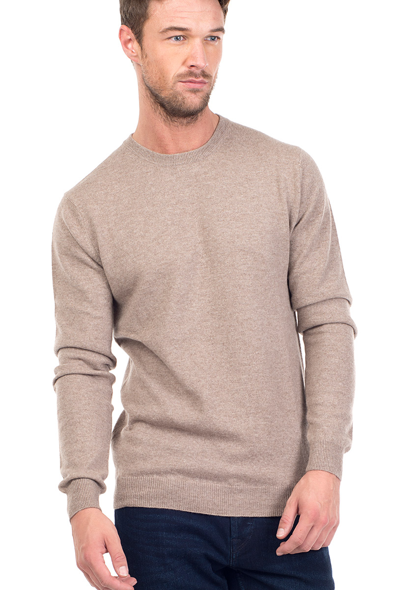 4613d98b4549a8 Canyon | Men's Cashmere Crew Neck Jumper in Beige | MrQuintessential