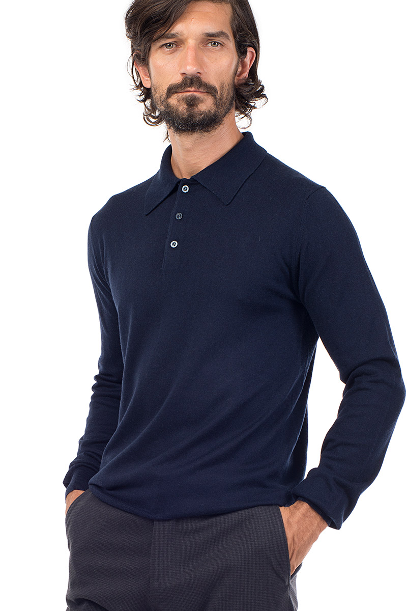 dfc334843 Mens Cashmere and Silk Blend luxury long sleeve polo shirt