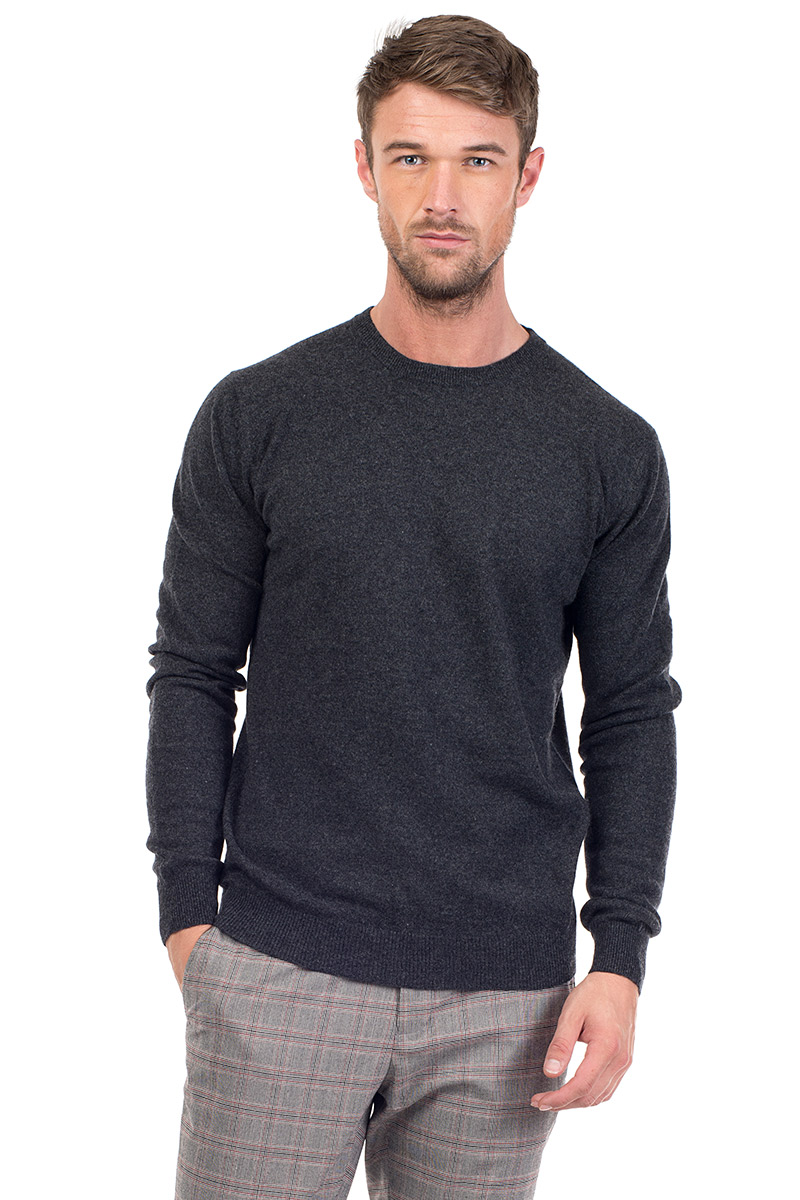 5e15dc3fc1cd6e Canyon | Men's Cashmere Crew Neck Sweater in Charcoal | MrQuintessential