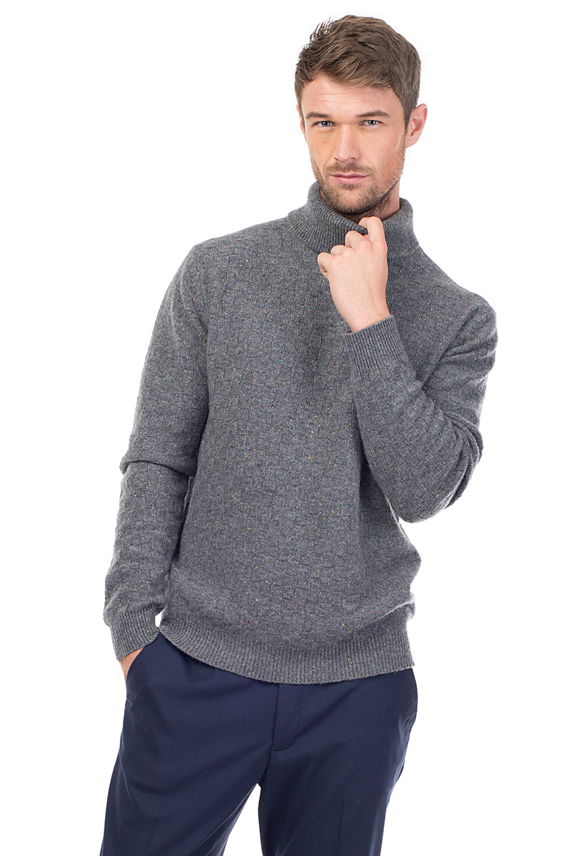 8eb778941 Jackson – Luxury Textured Cashmere Roll Neck Sweater – Heather Grey