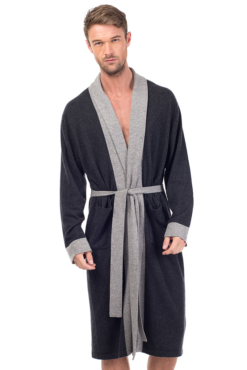 Men s Pure Cashmere Robe in Charcoal Grey - MrQuintessential 26d28b726