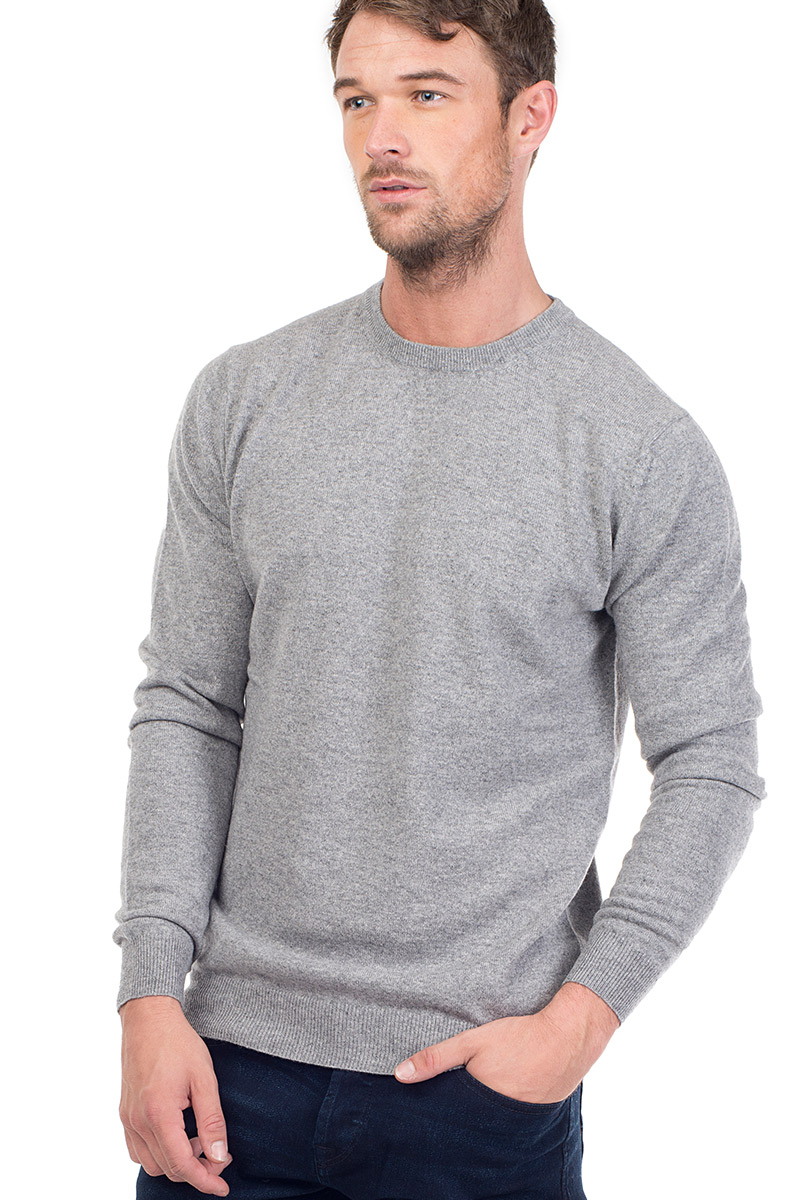 37526784306f8b Canyon | Men's Cashmere Crew Neck Sweater in Light Grey ...