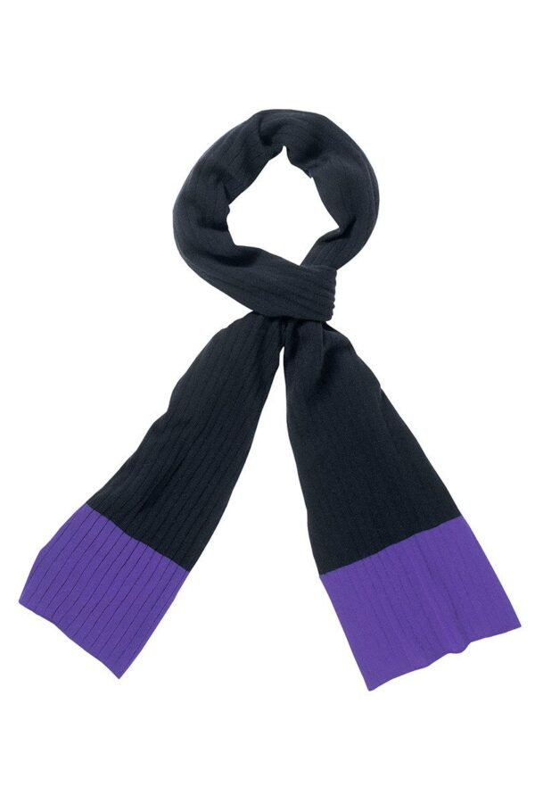 Newbury Ribbed Scarf In Dark Navy And Purple