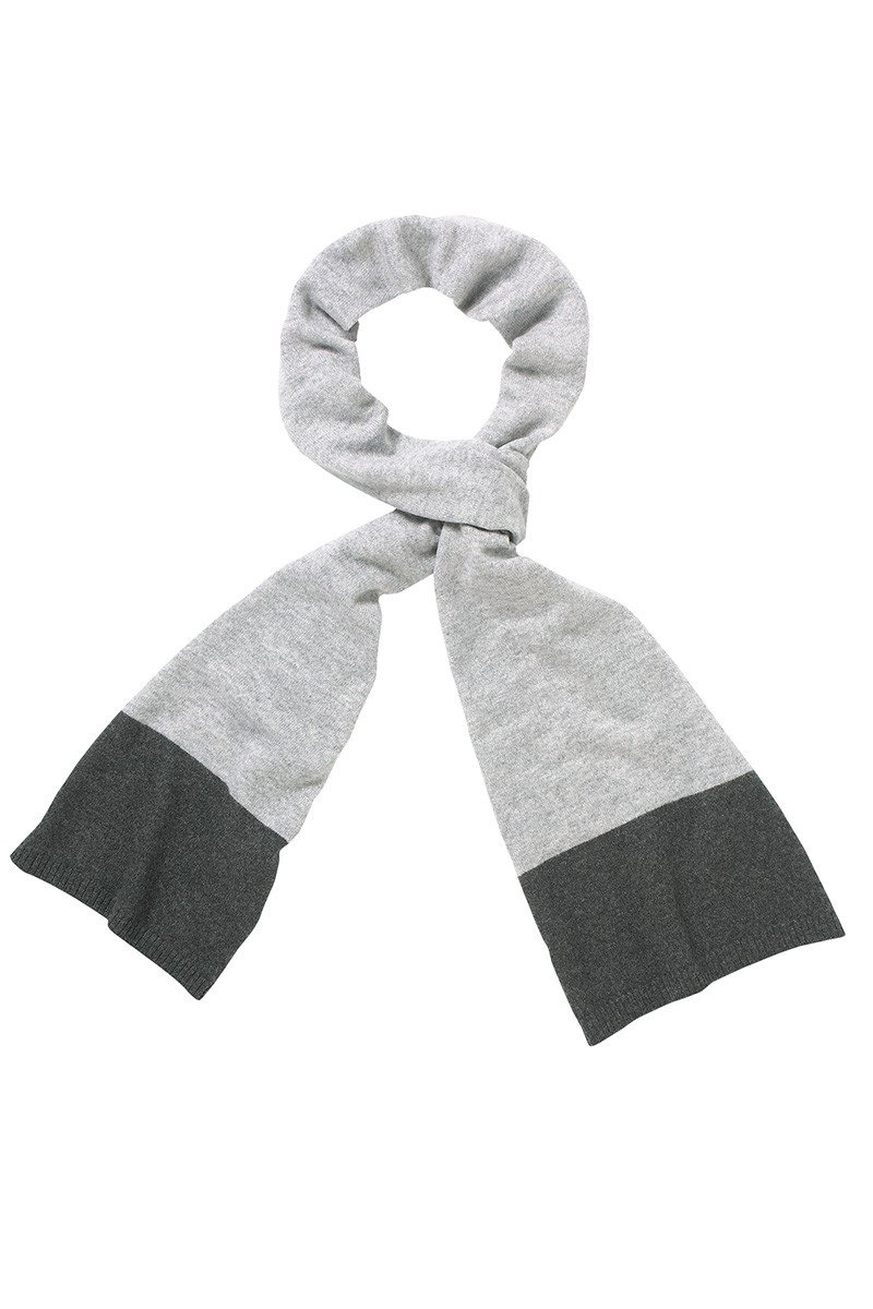 Donnington Scarf In Pale Grey And Charcoal