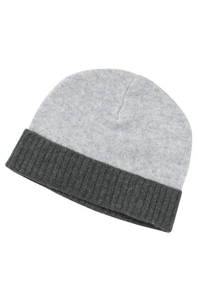 Lingfield Cashmere Beanie In Soft Grey And Charcoal Grey