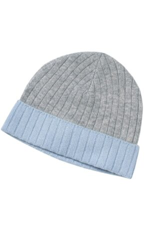 Ripon Ribbed Cashmere Beanie In Grey And Blue