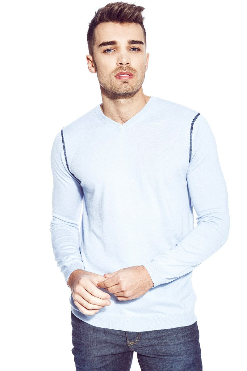 Sky V Neck Sweater In Summer Blue