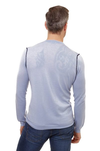 Sky V Neck Sweater In Summer Blue
