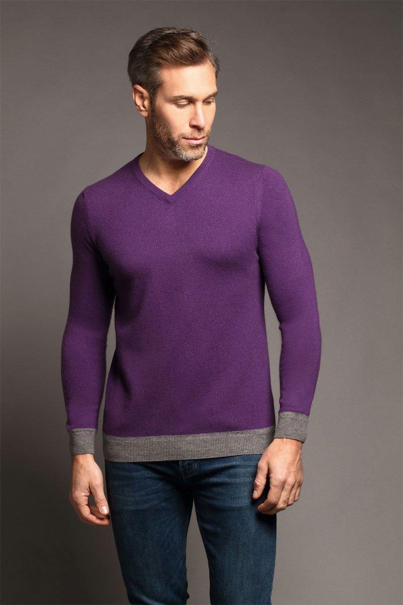 York V-Neck Rich Purple Sweater