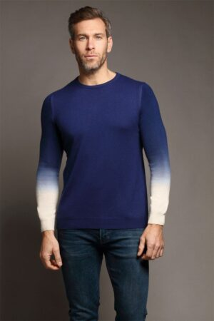 Oliver Crew Neck Sweater Navy & Ivory Dip Dyed Sweater