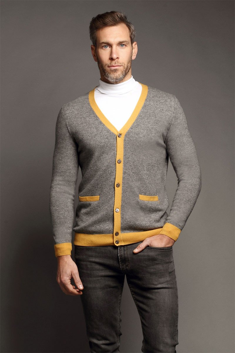 MrQuintessential» Blog Archive » Poplar Light Grey & Yellow Cardigan