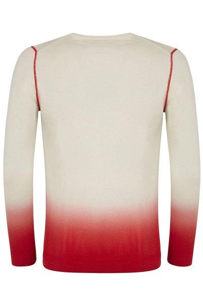 Yew Crew Neck Dark Red & Ivory Dip Dyed Sweater