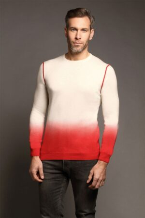 Yew Crew Neck Dark Red & Ivory Dip Dyed Sweater