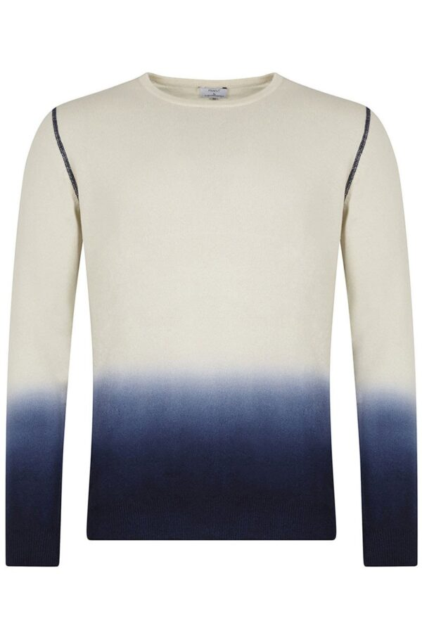 Yew Crew Neck Blue & Ivory Dip Dyed Sweater