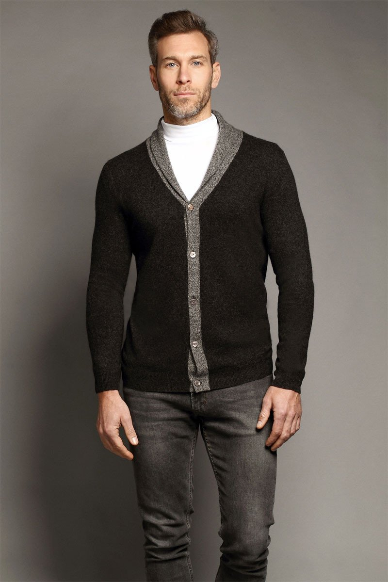 Chester Dark Grey Shawl Neck Cardigan - Sold Out