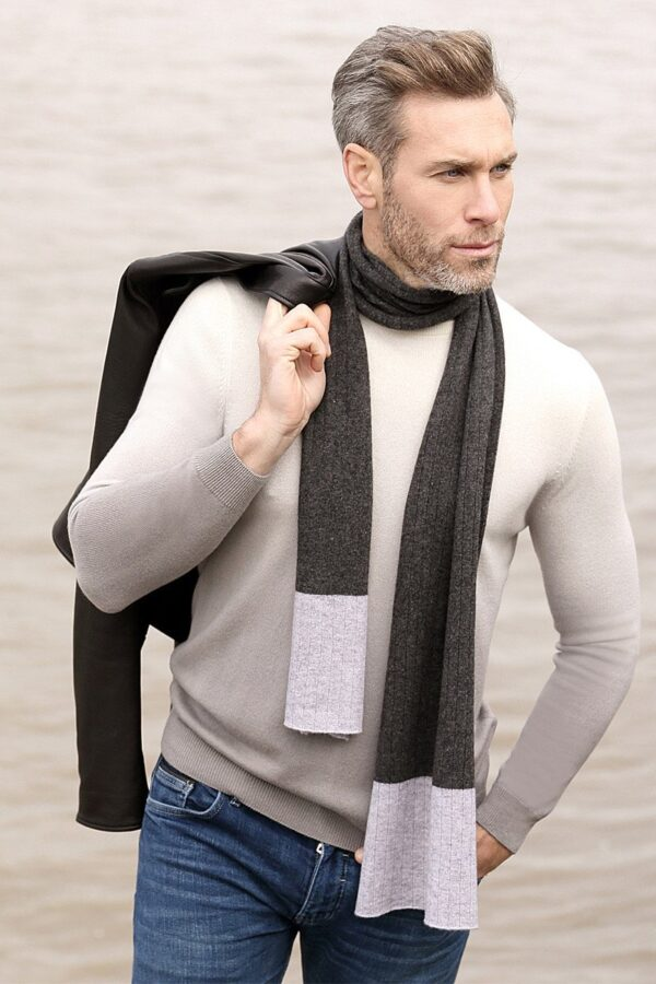 Newbury Ribbed Scarf In Charcoal And Grey