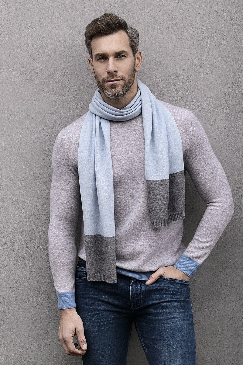 Donnington Scarf In Soft Blue And Grey