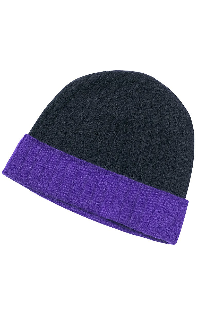 Ripon Ribbed Cashmere Beanie In Dark Navy And Purple