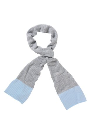 Newbury Ribbed Scarf In Soft Grey And Pale Blue